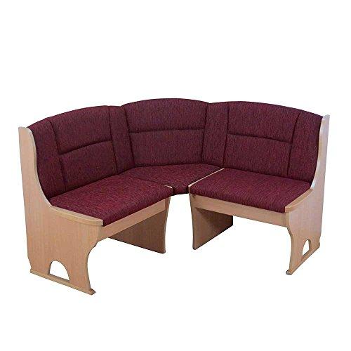 Pharao24 Eck Truhenbank in Dunkelrot Stoff Buche Breite 125 cm Ohne 4 Sitzplätze