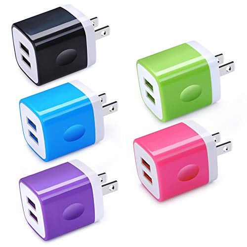 Charger Block, Charging Plug, 5Pack 2.1A Quick Dual Port Wall Charger Box Cubes Compatible for iPhone 8/X/7 Plus/6s Plus, Samsung Galaxy S10 S10e S9 S8 Plus/S7 S6 Note 9/8, LG G8 G7 G6 V50, Moto G7 G6