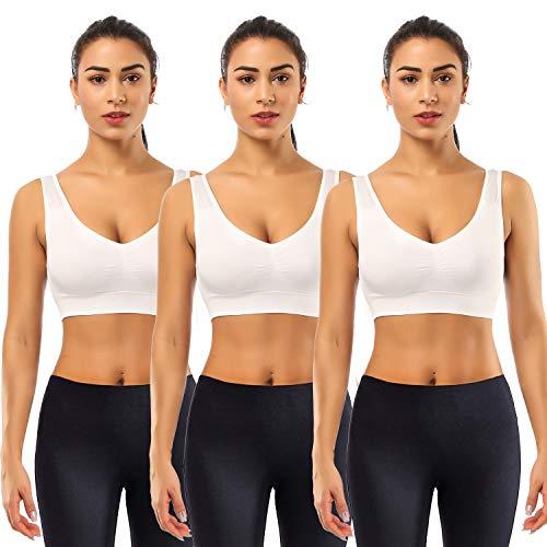 SIMIYA Damen Bequem BH, Klassische Frauen Bustier, Push Up und Ohne Bügel, 1er Pack 3er Pack(3 Stück Weiß,XL)
