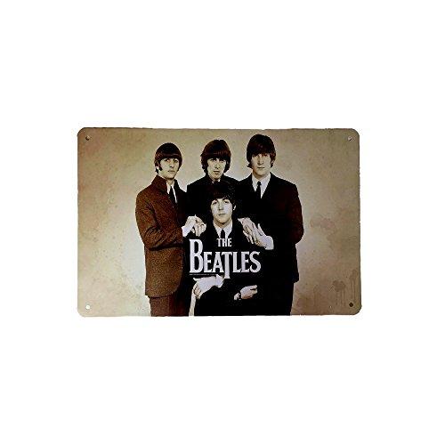 DiiliHiiri Cartel de Chapa Vintage - The Beatles - Decoración, Letrero A4 Estilo Antiguo de metálico Retro