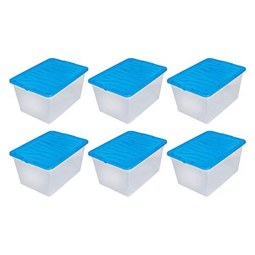 BranQ - Home essential Zebra Box Aufbewahrungsbox/Container 6er Set 30l, Kunststoff PP, Transparent/Blau, 48,5x36x25 cm (LxBxH)