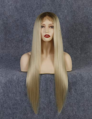 24 Zoll 13x6 Lace Front Ombre Blondes Perücken, braune Wurzeln Langes Blondes Gerade Haar Für Frau, Realistische Chemiefaser-synthetische Perücke, Cosplay Perücke, Perücke Damen Für Tägliches Kleid