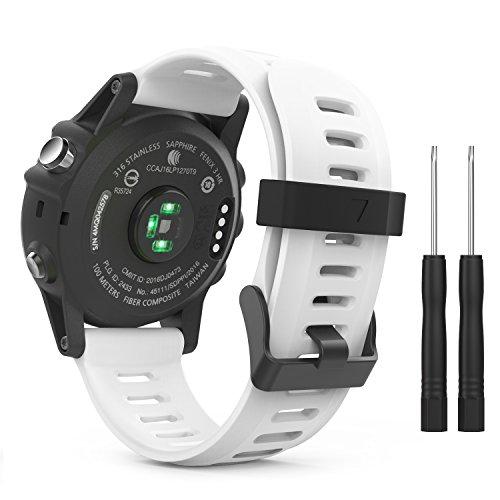 MoKo Pulsera Compatible con Garmin Fenix 3/3 HR/5X/5X Plus/D2 Delta PX/Tactix Bravo/Descent Mk1/Quatix 3, Correa de Silicona Respirable y Reemplazable, Banda de Reloj Deportivo con Cierre - Blanco