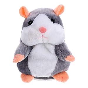 TOYANDONA Figura de hámster parlante de 18 cm, ratón de peluche, juguete electrónico, juguete de peluche para niños, regalo de cumpleaños, mascotas, juguete interactivo (sin batería)