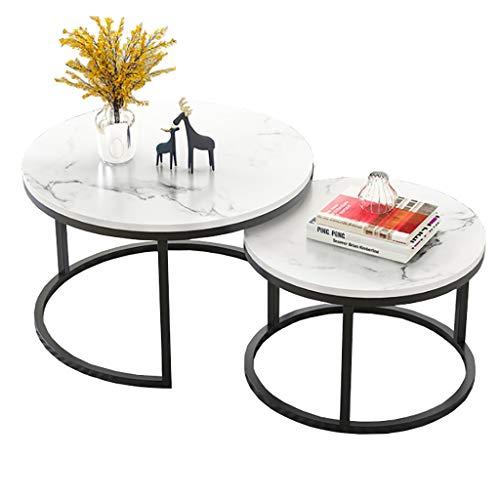 GJ Beistell-Tische, Modern Runde Couchtische, Metallrahmen Satztische, for Wohnzimmer, Schlafzimmer, Balkon, weiß Schwarz Tabelle (Color : D)