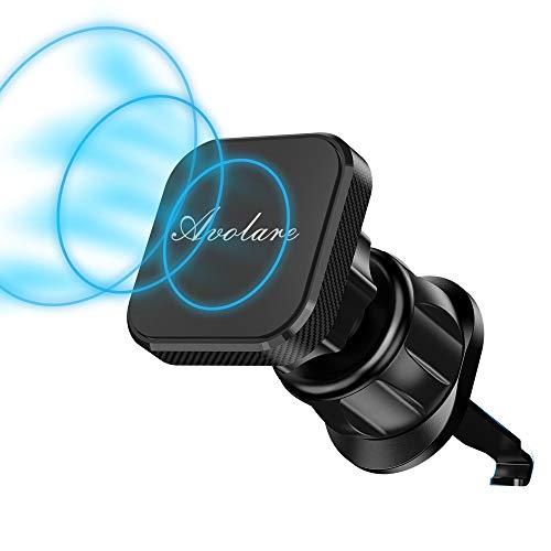 Soporte Movil Coche Magnético Universal,Avolare N52 Iman Soporte Movil para Rejillas del Aire 360°Rotación con 4 Piezas Láminas Metálicas 3M,Clip de Pico de Águila para iPhone 11,HUAWEI,Samsung y etc.
