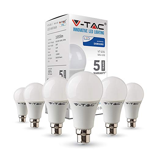 B22 LED Light Bulb Bayonet | 11W Equivalent to 75W | Classic Shape Non Dimmable 3000K Warm White | Pack of 6