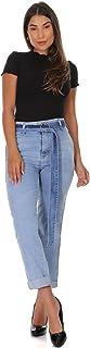 Calça Jeans Feminina Reta Sawary Cintura Media Azul Claro