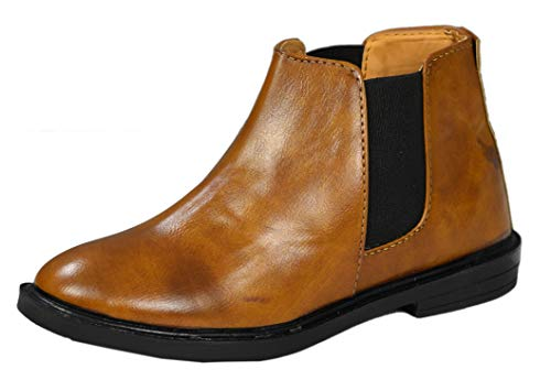 Onbeat Chelsea Leather Boots For Kids (Tan, numeric_4)