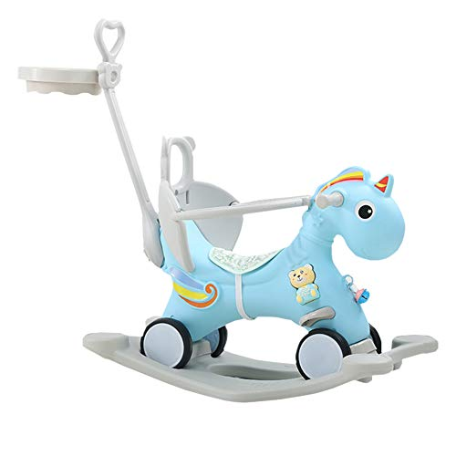 LYXCM Baby Rocking Horse, Dual Purpose Ride on Push with Cute Unicorn Shape/Environmental Protection Kids Sliding Cart for Toddler Birthday Gift,Blue