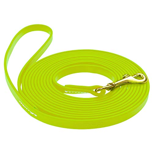 Viper Biothane K9 Working Dog Leash Waterproof Lead for Tracking Training Schutzhund Odor-Proof Long Line with Solid Brass Snap for Puppy Medium and Large Dogs 0.37 in Wide by 10 ft Long Neon Yellow