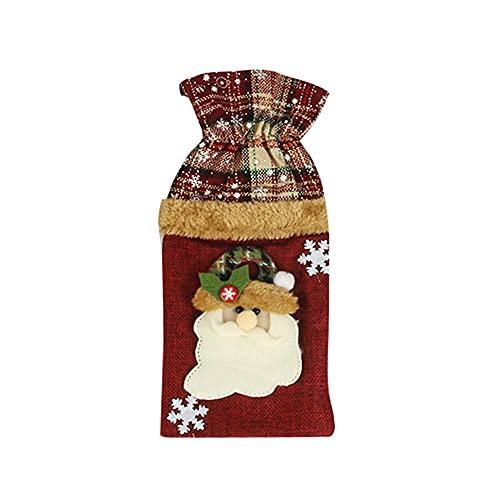 Cubierta de botella de vino de Navidad a cuadros para el hogar ornamento regalo de Año Nuevo