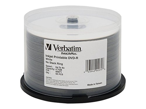 Verbatim DVD-R 4.7GB 8X DataLifePlus White Inkjet Printable Surface - 50pk Spindle