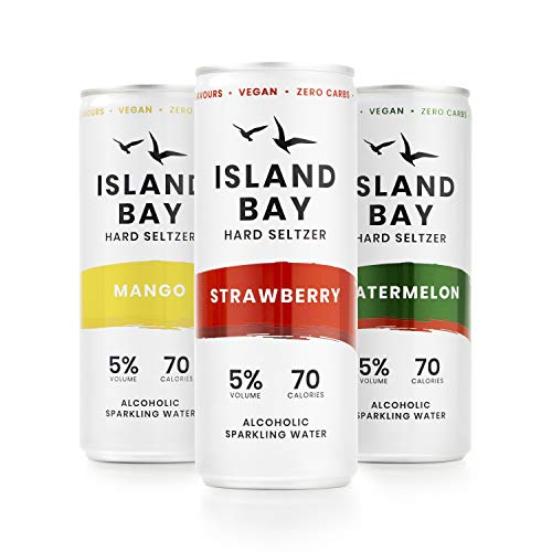 Island Bay - Hard Seltzer, Mixed Case of Mango, Strawberry and Watermelon. 5% Alcohol Sparkling Water, Zero Sugar, 70 Calories, Vegan (12 x 250ml Cans)