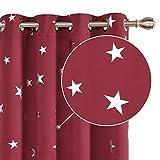Deconovo Cortinas Opacas con Aislamiento Térmico para Sala de Estar Oficina Hotel Ventanas Infantiles Estrellas Plateada 117 x 229 cm Rojo Oscuro