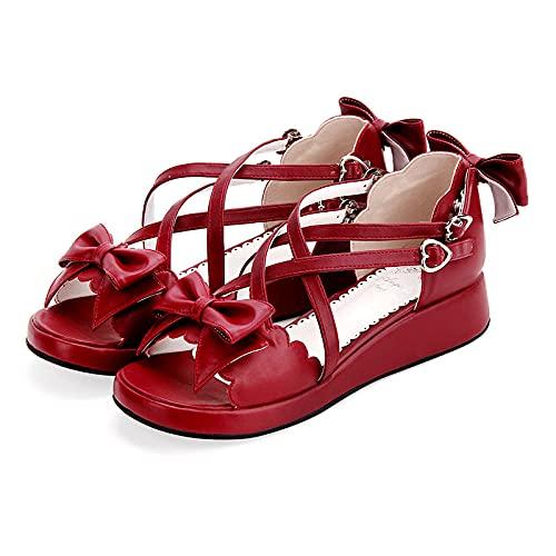 PetMeows Sandalias Plataforma Princesa Lazo Vestido Sandalias Lolita zapatos-44_Vino Tinto