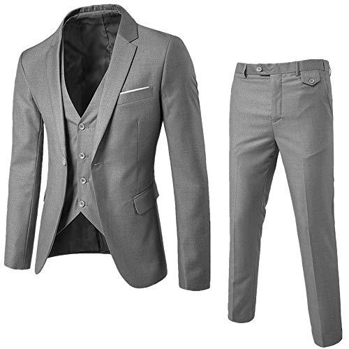 DAY8 Abito Cerimonia Uomo 3 Pezzi per Matrimonio Affari Festa Slim Fit Elegante Vestito Uomo Cappotto Giacca Blazer + Gilet + Pantaloni Set Economico (Grigio, S)