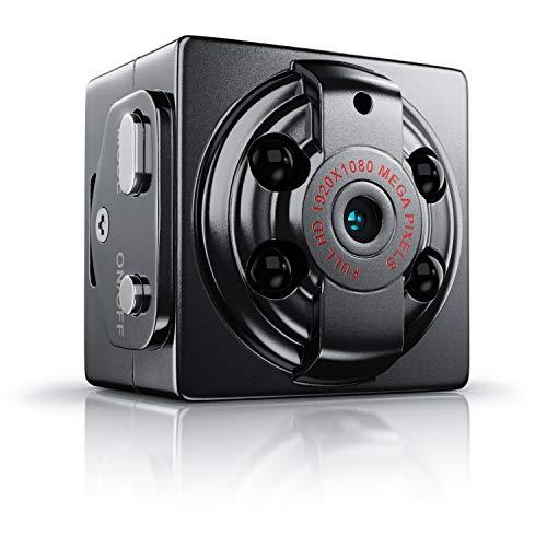 CSL - Mini Kamera Full HD mit Nachtsichtfunktion und Bewegungserkennung – 1080P - 1920 x 1080 @ 30Hz - integrierter Akku – Loop Aufnahmefunktion – microSD-Kartenslot – Überwachungskamera - Spycam