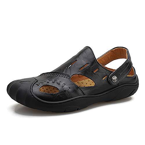 Sandalen, Strand Sandale für Männer: Slip on Slipper aus echtem Leder geschlossene Zehen handgefertigte Sommer Outdoor Wanderschuhe (Color : Schwarz, Größe : 40 EU)