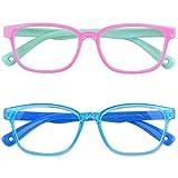 Vetoo Kids Blue Light Blocking Glasses Anti Glare Eyeglasses Blu-ray Filter Computer Gaming Glasses Age 3-13 for Girls Boys Teen(2Pack)