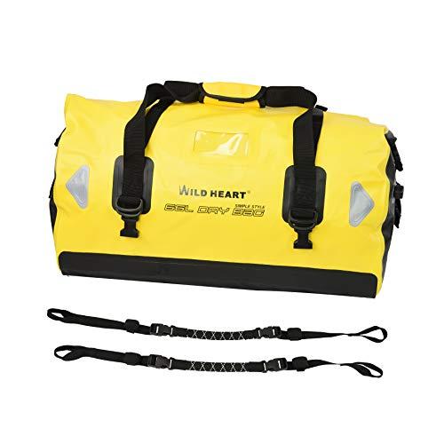 WILD HEART - Borsone Impermeabile 40L 66L 100L con Cuciture saldate, Tasca in Rete per Kayak, Campeggio, Canottaggio, Bici,Moto (66L Giallo Aggiungi Fondo con Corda)