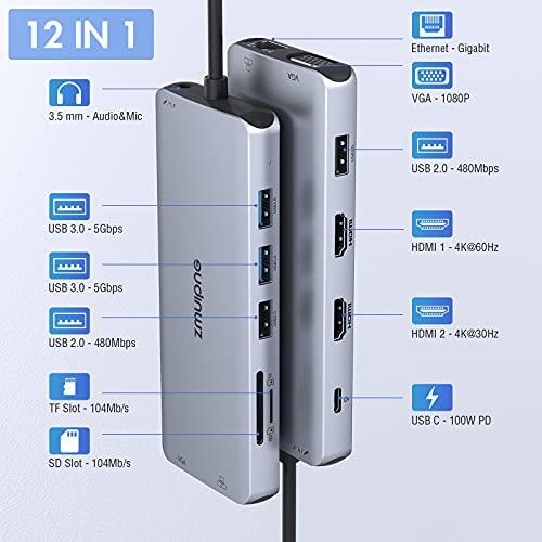 USB C Docking Station Dual HDMI Monitor Adapter Triple Display Adapter mit USB C zu Dual 4K HDMI,VGA,Ethernet,3USB,PD,SD/TF Kartenleser, 3.5mm für Laptop Dell XPS 13 15, Lenovo Yoga, HP x360,MacBook - 2