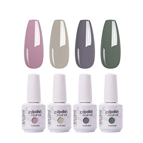 Arte Clavo 15ml Gel Nail Polish Set, Pink Gray Neutral Beige Mauve Color Perfect for Autumn and Winter Nail Art Manicure Kit Soak Off LED Gel B36