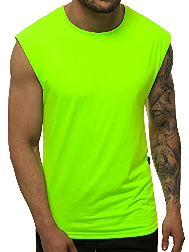 OZONEE Herren Tank Top Tanktop Tankshirt Ärmellos Bodybuilding Shirt Unterhemd T-Shirt Tshirt Tee Muskelshirt Achselshirt Trägershirt Ärmellose Training Sport Fitness O/1265 GRÜN-NEON L