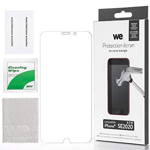 WE - Cristal Templado para iPhone SE 2020 6/6S/7/8 – Protector de Pantalla antiarañazos – Antiburbujas de Aire – Ultra Resistente – Dureza 9H Glass