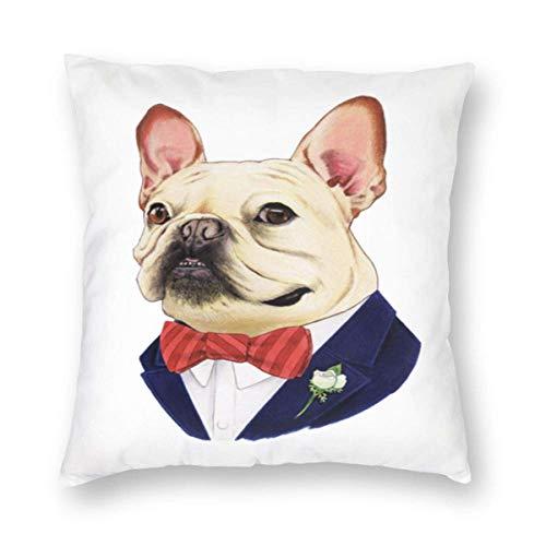 GOSMAO Fundas para Cojines Bulldog francés Funda de cojín con impresión clásica Fundas de Almohada Decorativas para Regalos sofá decoración 45 * 45cm