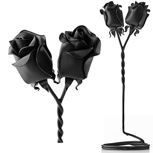 IK Style Set of 2 Forged Iron Roses Free Standing Intertwined Together Forever - Beautiful 6 for Her - Bouquet of Twist