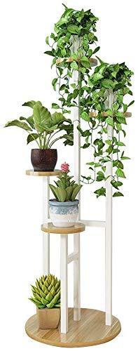 FLERSHF Houten Bloemenrekken Plant Stand Binnen Outdoor Bloempot Houder Tuin Patio Balkon Tall Planter Bloem Bonsai Display Plank Metalen Frame, Hoog 120cm
