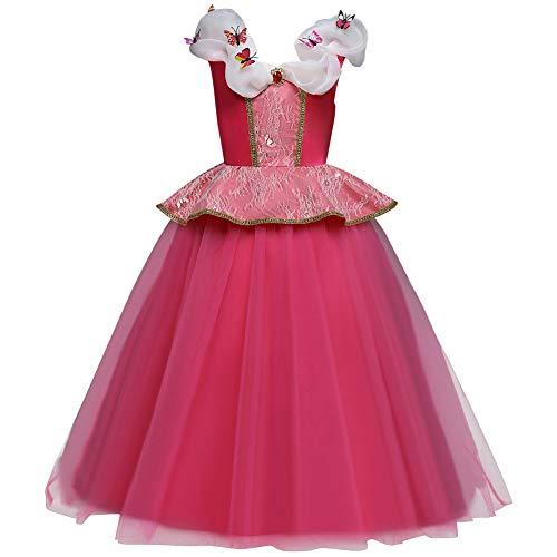 FYMNSI Disfraz de Princesa Aurora Niñas Carnaval Cosplay de la Bella Durmiente Rosa Tul Tutu Largo Vestido de Fiesta Ceremonia Halloween Navidad Cuento de Hadas Disfraces 7-8 años