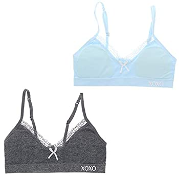XOXO Girl Super Soft Training Bra Set with Removable Pads  2 Bras   34/L Baby Blue & Grey