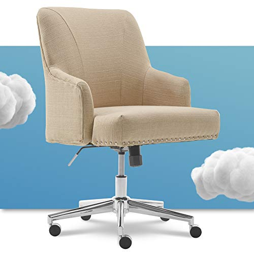 Serta Leighton Home Office Memory Foam, Height-Adjustable Desk Accent Chair with Chrome-Finished...