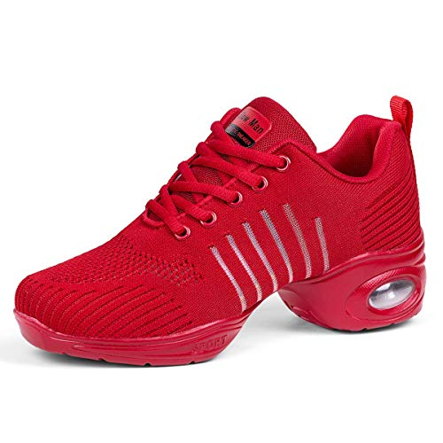 Women's Jazz Sneakers Walking Shoes - Mesh Breathable Lace-up Air Cushion Modern Split Sole Dance Shoes Red,8.5
