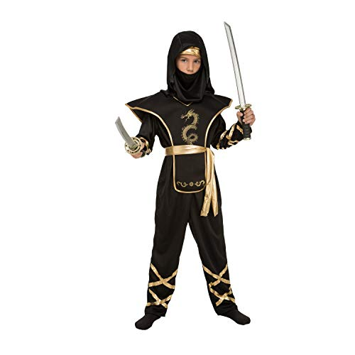 My Other Me Me-204886 Disfraz de ninja para niño, color negro, 7-9 años (Viving Costumes 204886)