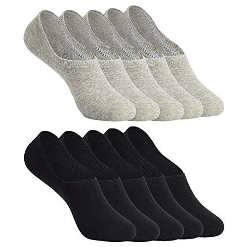 YOUCHAN Sneaker Socken Damen Herren Füßlinge 10 Paar Footies Unsichtbare Kurze No Show Socken Großes Silikonpad Anti Rutsch_Schwarz-Grau_47-50