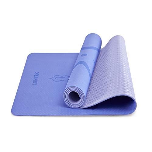 UMAY LONTEK Gymnastikmatte Rutschfest Yogamatte Reise Gepolstert Sportmatte für Fitness Pilates & Gymnastik mit Tragegurt und Tasche Blau 183 x 61 x 0,6cm
