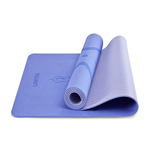 LONTEK Esterilla Yoga Antideslizante Colchoneta Yoga TPE con Líneas de Posición, Yoga Mat para Pilates, Yoga y Fitness, Esterilla Fitness con Cuerda y Bolsa de Transporte-183x61x0.6cm, Lila