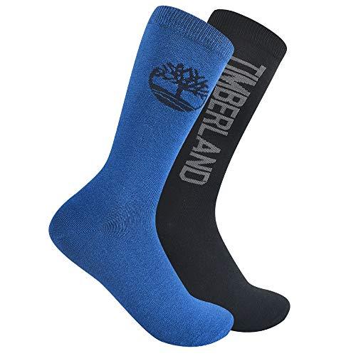 Timberland Herren 2-Pack Fashion Crew Socks Freizeitsocken, blau, Einheitsgröße