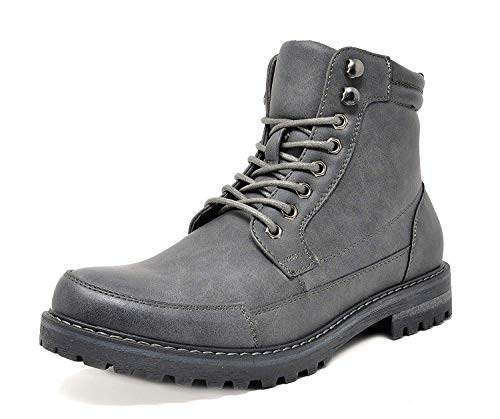 Bruno Marc Men's Engle-01 Grey Motorcycle Combat Oxford Boot Fur Lining Warm Zipper Boots Size 9 M US