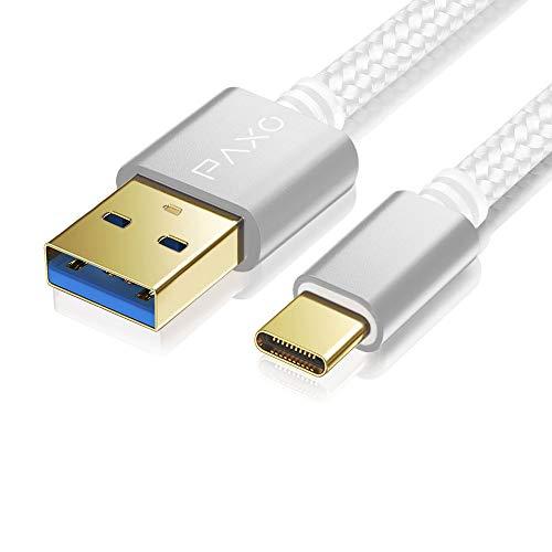 0,5m Nylon USB C Kabel, USB 3.0, weiß, USB A auf USB Typ C Ladekabel, Datenkabel, Goldstecker