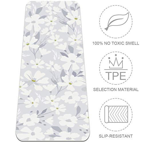 HANDIYA witte bloemen1 yogamat, non-slip trainingsmat gemaakt van premium materiaal niet-giftige hoge prestaties grip, 24x72 in-61x382 cm.