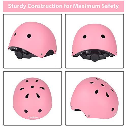 LEDIVO Kids Adjustable Bike Helmet Toddler Helmet for Kids 3-8 Years Girls Boys, Sport Protective Gear Set Knee Elbow Wrist Pads for Roller Skating Skateboard BMX Scooter Cycling (Pink)