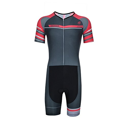EMONDER Men's Triathlon Suit Short Sleeve Skinsuit Tri Suit Cycling Skinsuit Breathable Quick Dry Team Bike Swim Runing Clothing (Gray,M)
