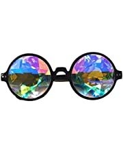FLORATA Kalejdoskop steampunk glasögon flerfärgade linsglasögon – regnbåge rave prisma diffraktion
