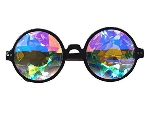 Incredible kaleidoscope effect: Real glass crystal lenses provide the most perfect, psychedelic effect to the wearer! Stand out in a crowed: Rainbow, thick, mirrored, multi-faceted, glass crystal lenses are the best way to turn heads when at any danc...