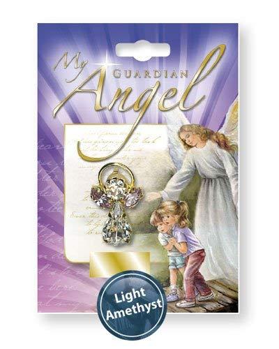 rosarybeads4u juni licht Amethist Birthstone Guardian engel kristal broche hanger pin met Swarovski Cut lood glas stenen