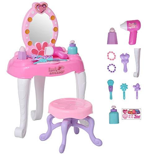 homcom Postazione Trucco per Bambine +3 Anni con Specchio, Luci, Suoni e Accessori Inclusi, Rosa e Bianca, 35x20x59.5cm
